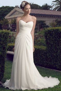 Ivory White Casablanca Bridal Chiffon Floor Natural Ruching Satin Sheath Sleeveless Strapless Sweetheart ...simple