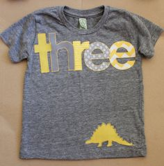 Yellow Dinosaur Theme Third 3rd Three Birthday Gray T Shirt Boys Size 3T By LieschenLu