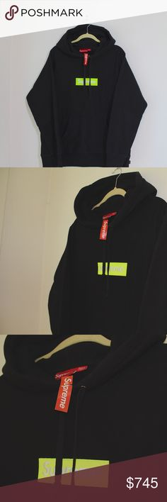 3444b02a3ed9 SUPREME supreme box logo hoodie sweatshirt supreme box logo hoodie black  and yellow -authentic !
