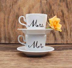 Mr & Mrs teacups - - -Blackbirds & Bumblebees