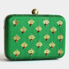 Green Raw Silk Khadi Clutch With Lotus Motifs Indian Accessories, Indian Style, Indian Fashion, Lotus, Clutches, Wallets, Coin Purse, Blouses, Purses