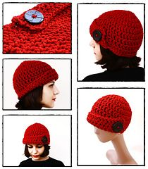 Free Crochet Pattern: Red Bulky Skullcap with Big Black Button , one hour project, one skein project.