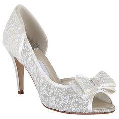 Gorgeous wedding shoes! Rainbow Club Paloma Bow Detail Asymmetric Courts, Ivory Lace