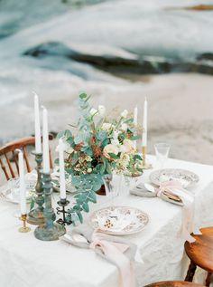 Vintage wedding tablescape   Kristina Malmqvist Photography   see more on:  http://burnettsboards.com/2015/07/demure-beach-wedding/