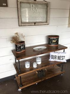 The Rustic Acre custom built rustic industrial shelf unit. Custom Built in College Station, TX. House Decor Rustic, Rustic Fireplaces, Rustic Cabinets, Rustic Headboard, Rustic Kitchen Hardware, Rustic Apartment, Rustic Bathrooms, Industrial Apartment Decor, Rustic House