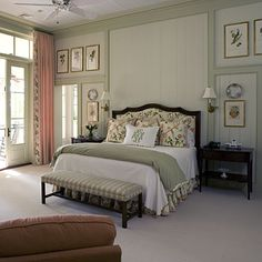Large expanses of wall-space can be hard to decorate. So this room uses the texture of decorative molding panels and trim to enhance the walls.