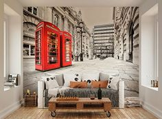 ohpopsi London Red Telephone Boxes Wall Mural only £42.99 with FREE postage and packaging #ohpopsi
