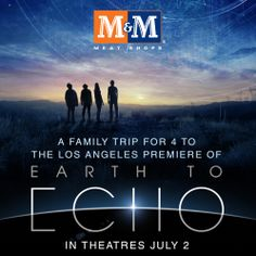 Earth To Echo Facebook Contest - Become a fan of M&M Meat Shops on Facebook and you could win a trip for 4 to the Los Angeles premiere of Earth To Echo (Approx. Retail Value $7,000) Contest open from May 12-29, 2014. Must be a legal resident of Canada and the age of majority to enter. See complete rules and regulations for more details. #mmmeatshops #earthtoecho