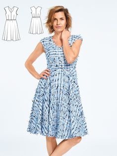 A refreshing combination of details make this dress an eye-catcher. Overcut shoulders on top fit snugly across the upper arm and a swinging, generously playful circle skirt shifts with every step while drawing the eye toward the waistline. To keep the look from being too sweet, wear it with a pair of masculine lace-ups. Tip: A shoulder wrap or a fine cardigan are the perfect styling partner while the weather is still warming up.