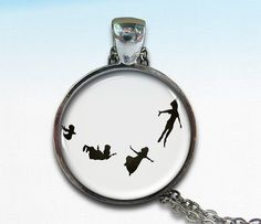 Peter Pan flying silhouette necklace. WANT THIS!!!!!!!!!!