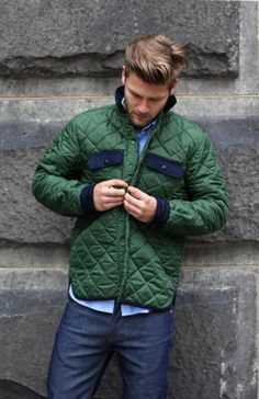 thetieguy:    green quilted jacket.