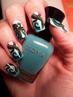 BM 400-series with zoya blu stamped mani.  Octopus nail art