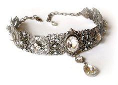 nice Swarovski Crystal Choker   Victorian Choker  by LeBoudoirNoir