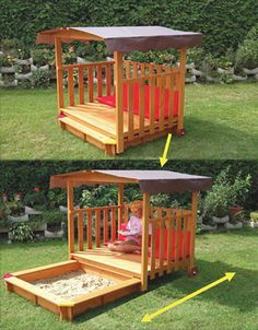 Someone thought this out; that is one fantastic sandbox cover! No neighbourhood kitties using the sandbox as a litter box, an a great place to sit.  Do want.