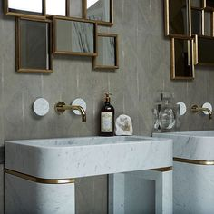 Watermark Zen 07 in Bianco Carrara and Polished Gold for Lapicida