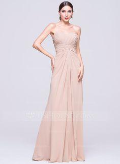 A-Line/Princess Sweetheart Floor-Length Chiffon Evening Dress With Ruffle Beading Sequins (017070276) - JJsHouse
