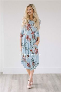 Light Blue Spring Floral Pocket Modest Dress Bridesmaids Dress, Church Dresses, dresses for church, modest bridesmaids dresses, trendy modest dresses, modest womens clothing, affordable boutique dresses, cute modest dresses, mikarose, best modest boutique