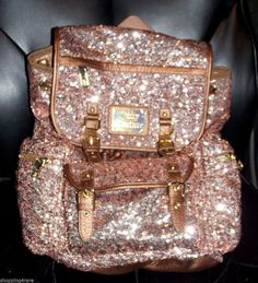 Women's Juicy Couture blush Pink Sequin Pailette Packpack Handbag Purse #JuicyCouture #BackpackStyle