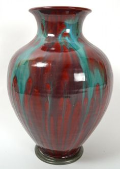 Modern decorated oxblood and turquoise vase. Dia (top) x H]. Copper Red, Sang, Oxblood, Anton, Mud, Germany, Pottery, Turquoise, Ceramics