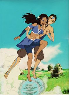Aang and Katara having fun