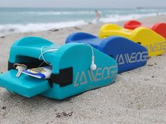 Pool & Beach Pillow by LA Wedge - dry, sand free storage space with port for earphones to keep player dry inside.