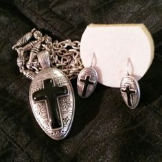 Cross necklace n earrings. Costume. Not SS. Costume cross necklace n earrings  18 inch Jewelry Earrings