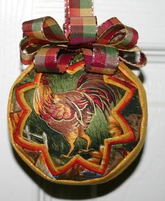 Chickens Fabric Quilted Ornament Ball by WreathsByKari on Etsy, $12.00
