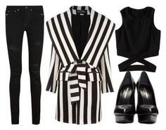 """""""street style"""" by sisaez ❤ liked on Polyvore featuring Yves Saint Laurent and Balmain"""