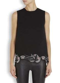 Black lace trimmed wool top, Christopher Kane