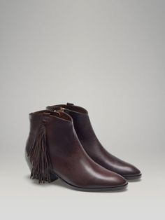 FRINGED COWBOY ANKLE BOOTS - - United States