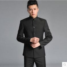 Mens-Jacket-Blazer-Pants-Chinese-tunic-Single-Breasted-Mao-Oriental-Style-suits