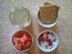 Watermelon, graham crackers, Greek yogurt with raspberries, banana shake