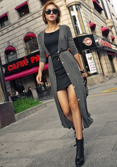 Long Belted Cardigan with Chiffon Back
