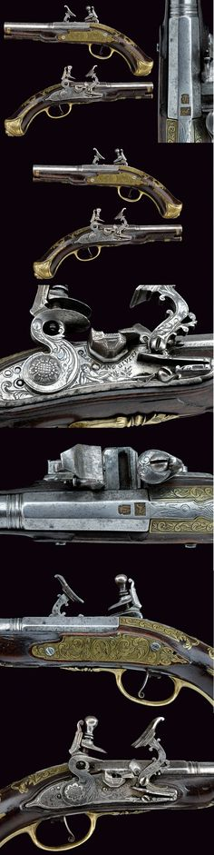 A pair of snaphaunce flintlock pistols by Bastiano Giusti, North Italy, ca. 18th century.