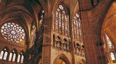 nterior of León cathedral, with its spectacular stained-glass windows La Cathedral, Barcelona Cathedral, Gothic Cathedral, Gothic Architecture, Ancient Architecture, Romanesque, Gothic Art, Religious Art, Stained Glass Windows
