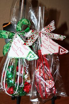 "Hostess Gift Ideas: Here's another fun gift idea that involves chocolate. Fill a Christmas whisk with Hershey's Kisses, wrap it up and tie it with a pretty ribbon. Don't forget to add a cute tag! Quick and simple! Merry ""Kissmas"" Tutorial"