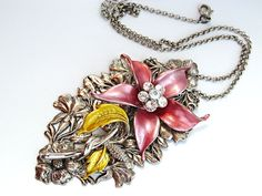 "$45  Eye catching statement necklace with large pink flower. 3.5"" focal piece is a rel attention grabber! Romantic and striking necklace!"