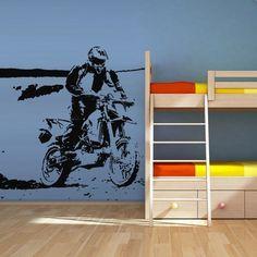 Wall Vinyl Sticker Decals Decor Art Bedroom Design Mural Tribal Dirt Bike  Moto Motorcycle (Z2763