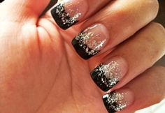 BLACK AND SILVER GLITTER NAILS by SUZIE Q. Not having nails makes me wanna cry
