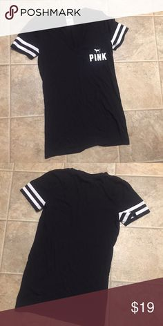 VS PINK Tee Black v neck from pink. Washed and worn once. Small. Tops Tees - Short Sleeve