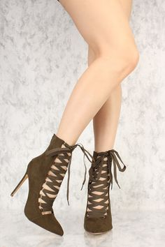 Olive Strappy Lace Up Pointy Toe Single Sole Booties Faux Suede Lace Up Heels, 5 Inch Heels, Wardrobes, Stiletto Heels, Booty, How To Wear, Fashion, Moda, Swag