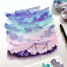 How dreamy are these watercolour landscapes by @artbysinch 🌃✨?? Makes me so happy ☺️ swipe to see them all!! #notebooktherapy - Shop bujos,… Kunst Inspo, Art Inspo, Watercolor Landscape, Watercolor Paintings, Watercolors, Watercolor Flowers, Art Sketches, Art Drawings, Aesthetic Painting