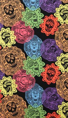 love this skull fabric. Papel Bonito Black by Alexander Henry. Skull Wallpaper, Pattern Wallpaper, Iphone Wallpaper, Mexican Skulls, Mexican Folk Art, Textures Patterns, Print Patterns, Alexander Henry Fabrics, Day Of The Dead Skull