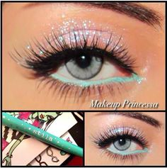 Glitter eyes with teal eyeliner