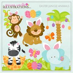 Easter Jungle Animals clipart set comes with 15 cute graphics including: an Easter Monkey, an Easter Lion, an Easter elephant, an Easter zebra, an Easter Palm Tree, 2 butterflies, 6 safari patterned Easter eggs, a flower vine and a patch of jungle grass.