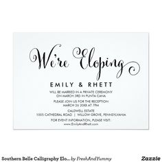 Southern Belle Calligraphy Elopement Reception Invitation Reception Only Invitations, Reception Card, Elegant Wedding Invitations, Custom Invitations, Elopement Party, Elopement Reception, Modern Wedding Reception, Wedding Ideas, Marriage Announcement