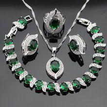 925 plata de la joyería para mujer verde esmeralda topacio blanco pulsera de los…
