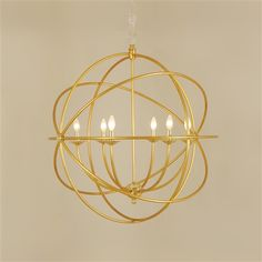 Antique Gold Finished Schlag Iron Chandelier, Polished Brass Accents