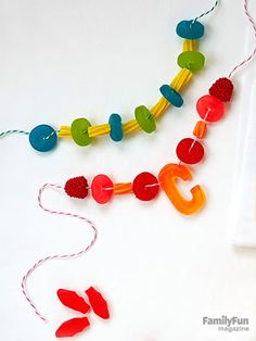 Candy Crush: For some edible glamour, string necklaces using a mix of jewel-like soft candies. Click here for some good picks.