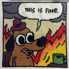 This Is Fine Gunshow Cross-Stitch Funny Cross Stitch Patterns, Cross Stitch Designs, Cross Stitching, Cross Stitch Embroidery, Postage Stamp Quilt, Pixel Pattern, Alpha Patterns, Crochet Cross, Embroidery Techniques